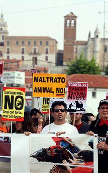 Manifestación en Tordesillas contra la fiesta del Toro de la Vega.   Ical