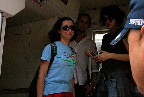 Zineb El Razhoui y Betty Lachgar, portavoces del grupo de que convocó la protesta.  E. C.