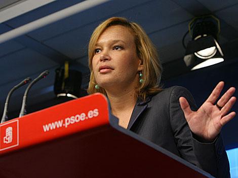 Leire Pajín, durante la rueda de prensa.   Alberto Cuéllar