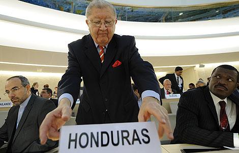 Jose Delmer Urbizo, antes de ser expulsado del Consejo de DDHH de la ONU. | AFP