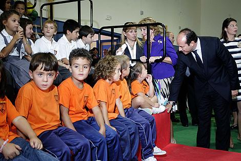 Esperanza Aguirre, en la inauguración del curso escolar en el Colegio Joaquín Blume. | D. Sinova
