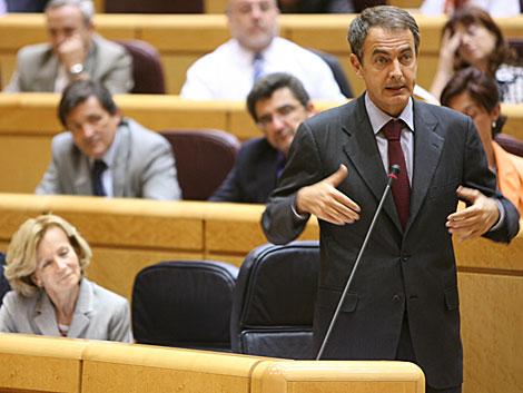Zapatero, durante su respuesta a García Escudero, en el Senado. | Alberto Cuéllar