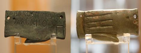 Tésera de hospitalidad del Siglo I encontrada en Paredes de Nava que también hace referencia a una familia de Intercatia. | Brágimo