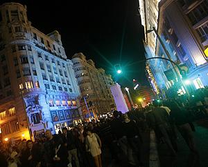 La Gran Vía madrileña durante la última 'Noche en Blanco'. | Efe
