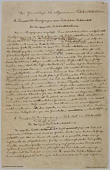 Primera página del manuscrito de la Teoría de la Relatividad General