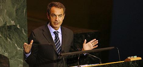José Luis Rodríguez Zapatero pronuncia su discurso en la Asamblea General de la ONU. | AP