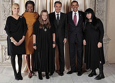 La imagen de los Obama y los Zapatero en el Metropolitan. | L. Jackson | Casa Blanca