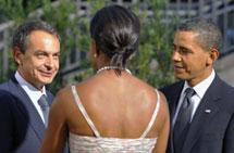 Los Obama y Zapatero. | Afp