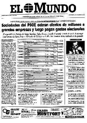 Portada de EL MUNDO del 29 mayo de 1991