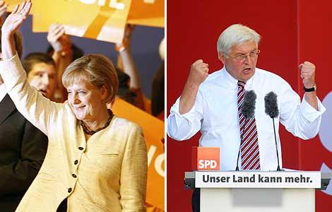 Angela Merkel y Frank-Walter Steinmeier. | Fotos: Efe