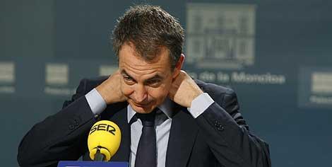 José Luis Rodríguez Zapatero, durante la entrevista. | Efe