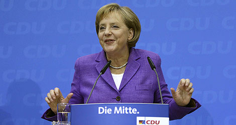 Angela Merkel celebra su victoria en la sede de la CDU en Berlín. | Reuters