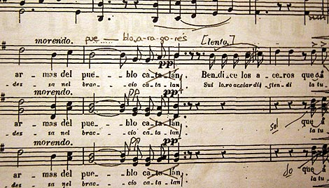 Partitura 'corregida' de la ópera Roger de Flor, del maestro Chapí. | V.B.