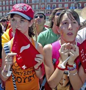 La decepción madrileña del 2012 se vivió el 6 de julio de 2005 en la Plaza Mayor (Foto: J. Martínez)