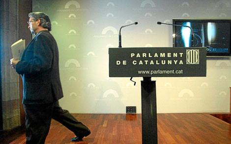 Ernest Benach, presidente del Parlament, tras una rueda de prensa. | Quique García