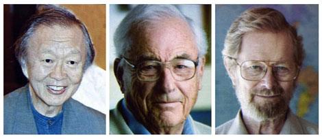 Los tres ganadores del Nobel de Física: Kao, Boyle y Smith. | Reuters