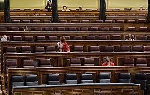 El Congreso de los Diputados, casi vacío durante un día de pleno (Foto: Bernardo Díaz).