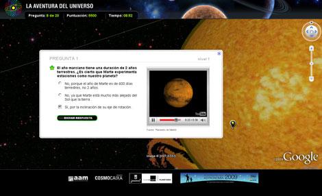 Pantallazo de una de las preguntas de 'La Aventura del Universo'. | Google