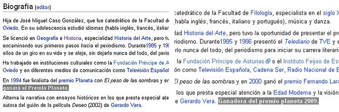 Dos ediciones distintas de la página de Ángeles Caso donde aparece como ganadora.