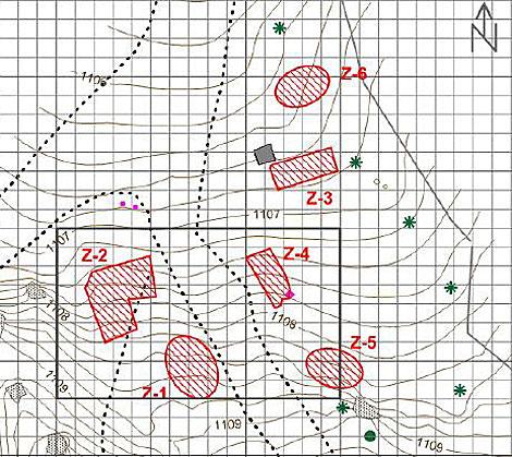 Estudio con georrádar que identifica en color rojo las seis posibles fosas en Alfacar. | Efe