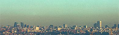 Vista panorámica de Madrid y la boina de contaminación. (Toledo)