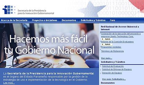 Pantalla del sitio de la Secretaría de Innovación de Panamá.