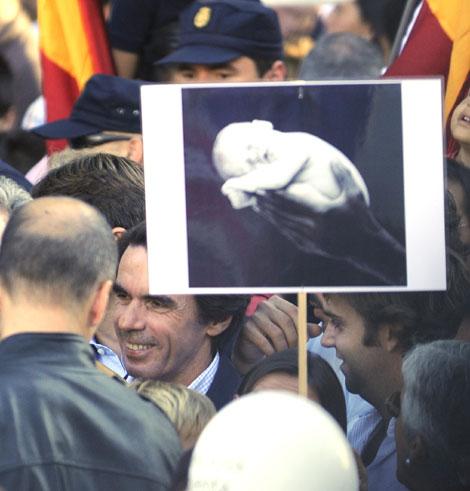 Aznar, el pasado sábado en la marcha. | Afp