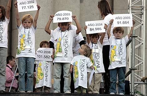 Niñas con carteles del número de abortos, en la manifestación. | Antonio Heredia