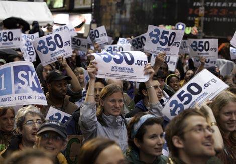 Manifestantes en Times Square. | Isaac Hernández