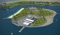 Isla artificial que iba a acoger la Copa América en Ras Al Jaima   Alinghi.