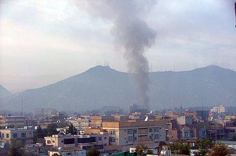 Columna de humo en la zona del ataque. | AP