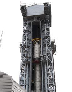 El SMOS en la plataforma de lanzamiento rusa. |ESA