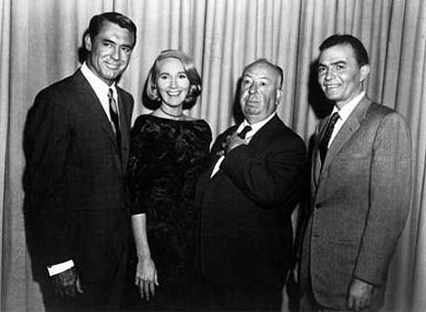 El reparto y su director: Cary Grant, Eve Marie Saint, Hitchcock, y James Mason.