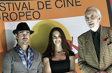 Colin Farrel, con Paz Vega y Christopher Lee en su rueda de prensa. | Jesús Morón