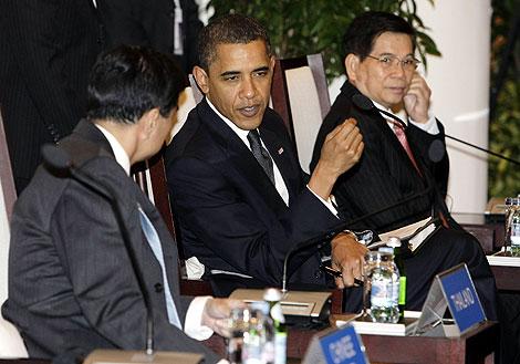 Obama, durante una de las reuniones. | AP