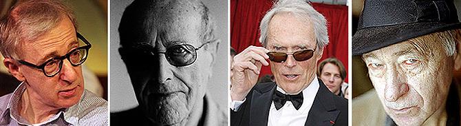 De izquierda a derecha, los directores de cine Woody Allen, . Manoel de Oliveira, Clint Eastwood y Jonas Mekas.