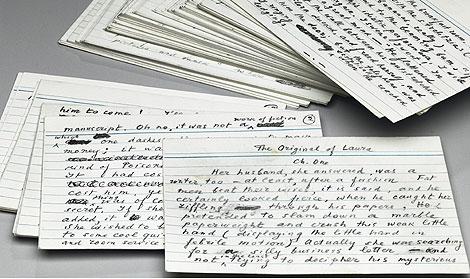Imagen de las tarjetas originales de la última novela de Nabokov. | Efe