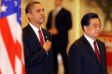 El presidente de EEUU, junto a su homólogo chino.   AFP