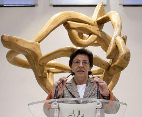 La consejera de Pesca del Gobierno vasco, Pilar Unzalu, en su intervención pública.   Efe