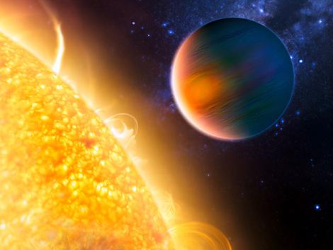 Imagen artística del planeta HD189733b con su estrella. | NASA