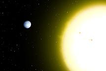 Imagen artística de 51 Pegasi y su estrella.