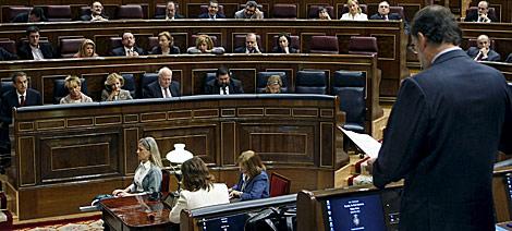 Rajoy, durante su pregunta sobre economía, en la sesión de control al Gobierno. | Efe