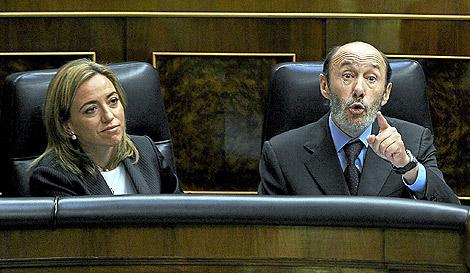 Rubalcaba, ayer en el Congreso de los Diputados. | Bernardo Díaz
