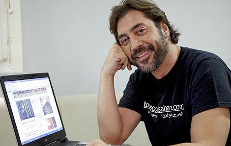 Javier Bardem, en un chat en EL MUNDO.es sobre el Sáhara. | Sergio Enríquez