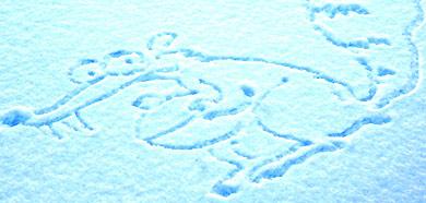 Dibujo de Scrat sobre la nieve de la Laponia sueca.