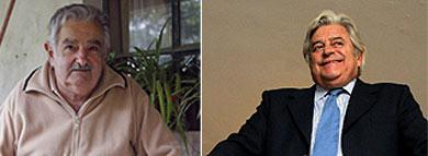 De izda. dcha, Mujica y Lacalle.