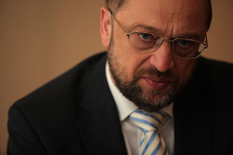 Martin Schulz, posa antes de la entrevista. | Antonio M. Xoubanova