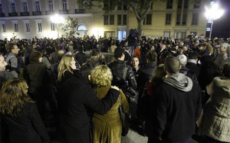 Imagen de la concentración frente al ministerio. | Sergio González