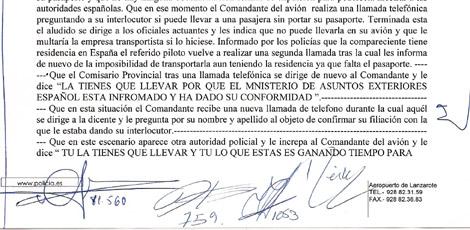 Extracto de la denuncia de Haidar en la que dice que Exteriores permitió su expulsión.