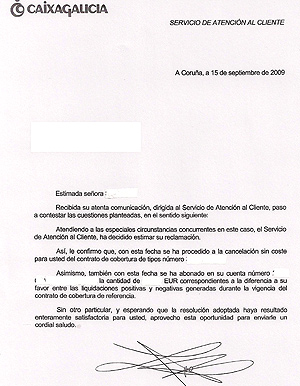 Carta remitida por Caixa Galicia. | Elmundo.es [PDF: Pinche aquí para ampliarla]